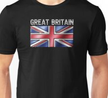 Great Britain - British Flag & Text - Metallic Unisex T-Shirt