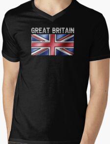 Great Britain - British Flag & Text - Metallic Mens V-Neck T-Shirt