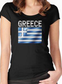 Greece - Greek Flag & Text - Metallic Women's Fitted Scoop T-Shirt