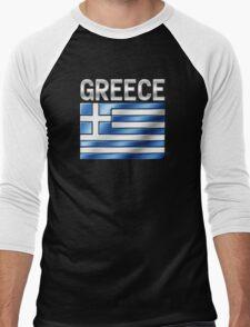 Greece - Greek Flag & Text - Metallic Men's Baseball ¾ T-Shirt