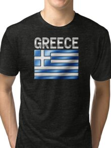 Greece - Greek Flag & Text - Metallic Tri-blend T-Shirt