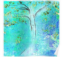 Blue and Green Tree Design Poster
