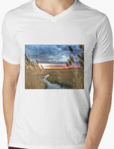 Wetland grass at sunset Mens V-Neck T-Shirt