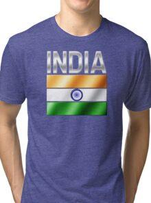India - Indian Flag & Text - Metallic Tri-blend T-Shirt