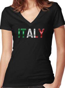 Italy - Italian Flag - Metallic Text Women's Fitted V-Neck T-Shirt