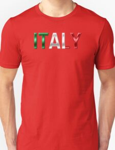 Italy - Italian Flag - Metallic Text T-Shirt