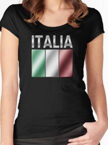 Italia - Italian Flag & Text - Metallic Women's Fitted Scoop T-Shirt