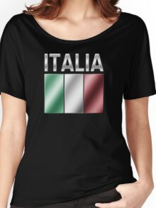 Italia - Italian Flag & Text - Metallic Women's Relaxed Fit T-Shirt