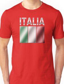 Italia - Italian Flag & Text - Metallic Unisex T-Shirt