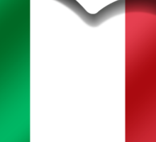 Italia - Italian Flag Heart & Text - Metallic Sticker