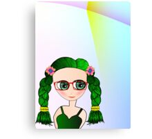 Green Eyed Geeky Doll Canvas Print