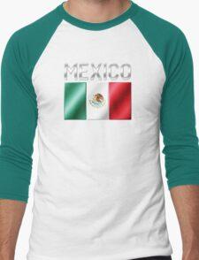 Mexico - Mexican Flag & Text - Metallic Men's Baseball ¾ T-Shirt