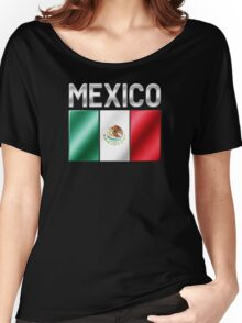 Mexico - Mexican Flag & Text - Metallic Women's Relaxed Fit T-Shirt