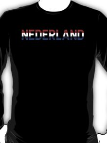 Nederland - Dutch Flag - Metallic Text T-Shirt