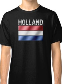 Holland - Dutch Flag & Text - Metallic Classic T-Shirt
