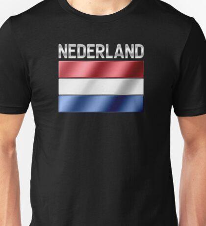 Nederland - Dutch Flag & Text - Metallic Unisex T-Shirt