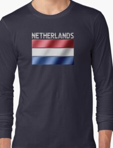 Netherlands - Dutch Flag & Text - Metallic Long Sleeve T-Shirt