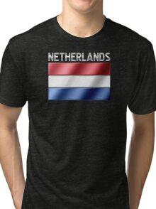 Netherlands - Dutch Flag & Text - Metallic Tri-blend T-Shirt