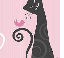 Cat #5 - pink background, stylized. by cartoon