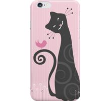 Cat #5 - pink background, stylized. iPhone Case/Skin