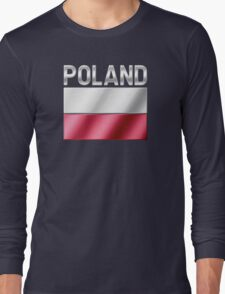 Poland - Polish Flag & Text - Metallic Long Sleeve T-Shirt