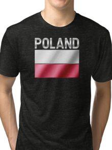 Poland - Polish Flag & Text - Metallic Tri-blend T-Shirt