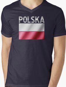 Polska - Polish Flag & Text - Metallic Mens V-Neck T-Shirt