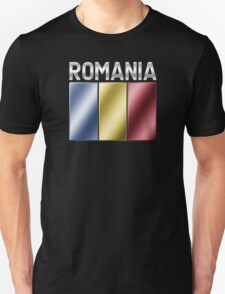 Romania - Romanian Flag & Text - Metallic T-Shirt