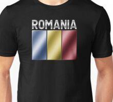 Romania - Romanian Flag & Text - Metallic Unisex T-Shirt