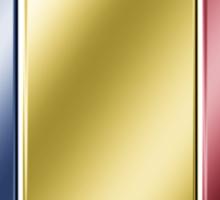 Romania - Romanian Flag & Text - Metallic Sticker