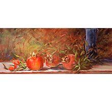 Pomegranates with Blue Vase Photographic Print