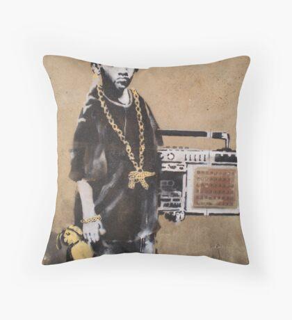Banksy Kid Detail Throw Pillow