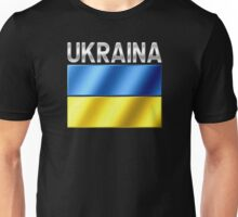 Ukraina - Ukrainian Flag & Text - Metallic Unisex T-Shirt