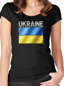 Ukraine - Ukrainian Flag & Text - Metallic Women's Fitted Scoop T-Shirt