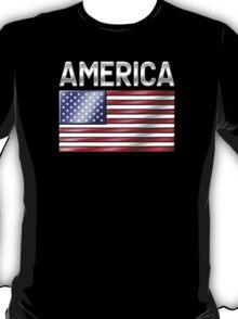 America - American Flag & Text - Metallic T-Shirt