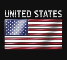 United States - American Flag & Text - Metallic Kids Clothes