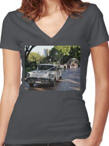 1957 Chevrolet Limousine, Hyde Park, Sydney, Australia 2012 Women's Fitted V-Neck T-Shirt