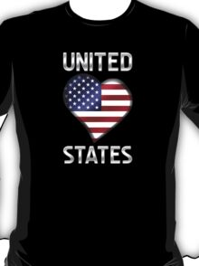 United States - American Flag Heart & Text - Metallic T-Shirt