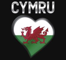 Cymru - Welsh Flag Heart & Text - Metallic Kids Clothes