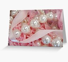 Pearls and Pink Ribbons Greeting Card