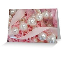 Pearls and Pink Ribbons Greeting Card