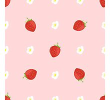 Seamless Background of Strawberries with Leaves and Flowers Photographic Print