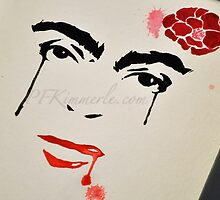 Frida Kahlo Never Forgotten Wall Art (watercolor) Portrait  by Patricia Kimmerle