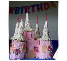 Birthday Cake. Pink Fairy Castle Poster