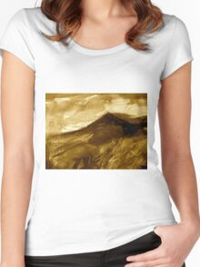 distant peak....in sepia Women's Fitted Scoop T-Shirt