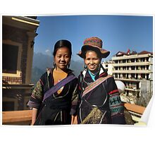 Black H'mong tribeswomen in Sapa, North Vietnam Poster