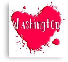 Washington Splash Heart Washington Canvas Print