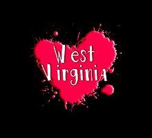 West Virginia Splash Heart West Virginia by Greenbaby