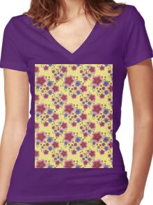 pink and blue flowers on yellow Women's Fitted V-Neck T-Shirt