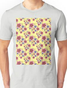 pink and blue flowers on yellow Unisex T-Shirt